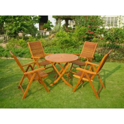 Lucena Five Piece Patio Dining Set in Stain - RT-029-PC-102-4CH