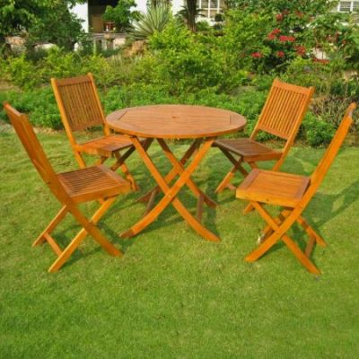 Royal Tahiti Marin 5-Piece Patio Dining Set in Stain - RT-029-VN-0128-4CH