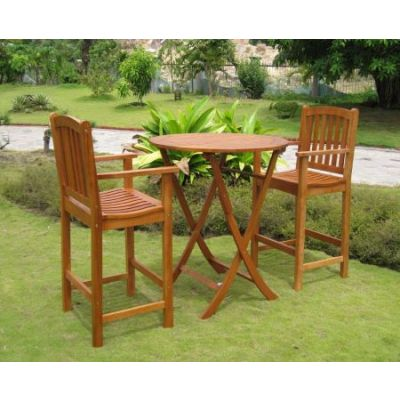 Terrassa Set of 3 Bar Height Table Group in Brown Stain - RT-030-BC-003-2CH