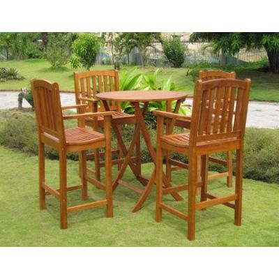 Pontevedra Set of 5 Bar Height Table Group in Brown Stain - RT-030-BC-003-4CH