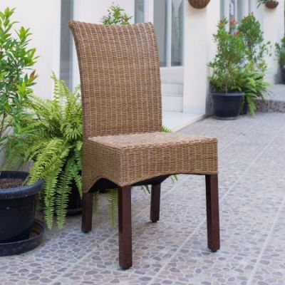Campbell Rattan Wicker Dining Chair in Brown Mahogany - SG-3307-1CH