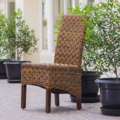 Manila Abaca/Rattan Wicker Dining Chair in Brown Mahogany - SG-3308-1CH