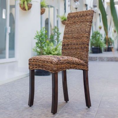Set of 2 Louisa Abaca Cushioned Dining Chair in Salak Brown - SG-3330-2CH