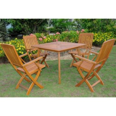 Royal Tahiti Sabrosa 5-Piece Patio Dining Group in Stain - ST-031-FA-040-4CH