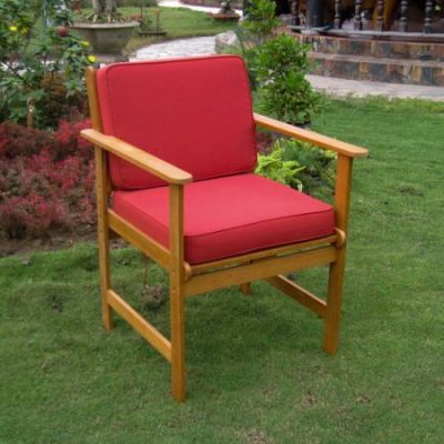 Royal Tahiti Gulf Port Arm Chair with Ruby Red Cushions - TT-1B-006-2CH-RR