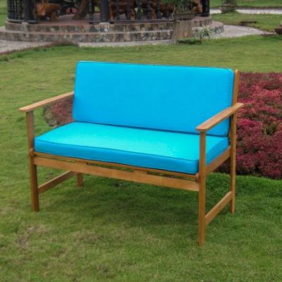 Royal Tahiti Arm Bench with Aqua Blue Cushions - TT-2B-009-AB