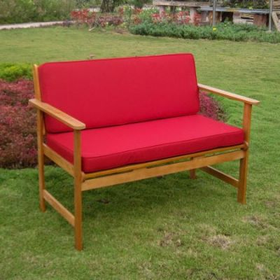 Royal Tahiti Arm Bench with Ruby Red Cushions - TT-2B-009-RR