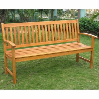 Royal Tahiti Outdoor Wood Three Seated Bench in Brown Stain - TT-3B-018