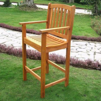 Royal Tahiti Wood Set of 2 Bar Height Chair in Brown Stain - TT-BC-003-2CH