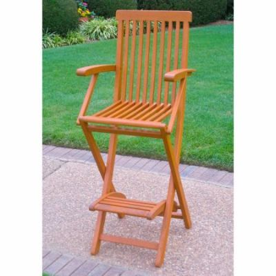 Set of 2 Royal Tahiti Folding Bar Chair in Brown Stain - TT-BC-007-2CH