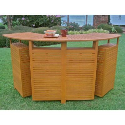 Delightful Royal Tahiti Outdoor Wood Fold Out Bar In Brown Stain   TT BR 001
