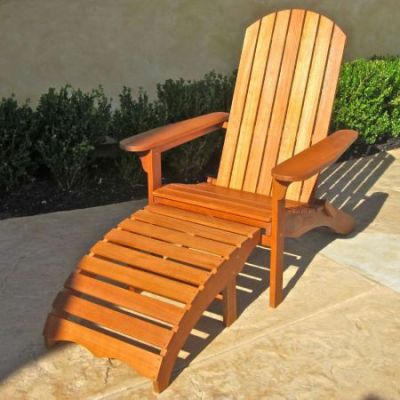 Large Adirondack Chair with Footrest in Brown Stain - TT-DC-010