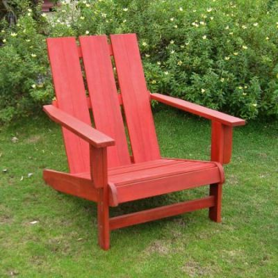 Acacia Large Square Back Adirondack Chair with Barn Red - TT-DC-022-BRD