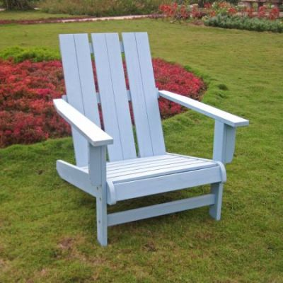 Acacia Large Square Back Adirondack Chair with Sky Blue - TT-DC-022-SKB