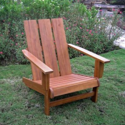 Acacia Large Square Back Adirondack Chair in Rustic Brown - TT-DC-022-STN