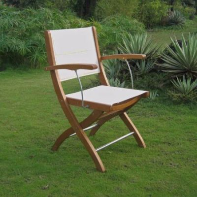 Royal Tahiti Ivory Textilene Folding Armchair in Brown - TT-FA-101-2CH