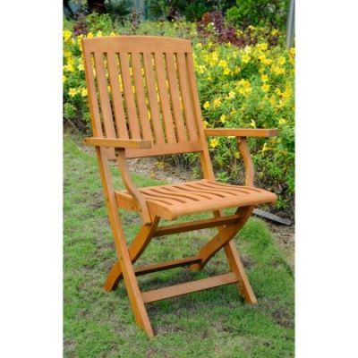 Royal Tahiti Set of 2 Folding Arm Chairs in Brown Stain - TT-FA-40-2CH