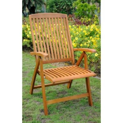 Royal Tahiti Set of 2 5-Position Arm Chair in Brown Stain - TT-PC-041-2CH