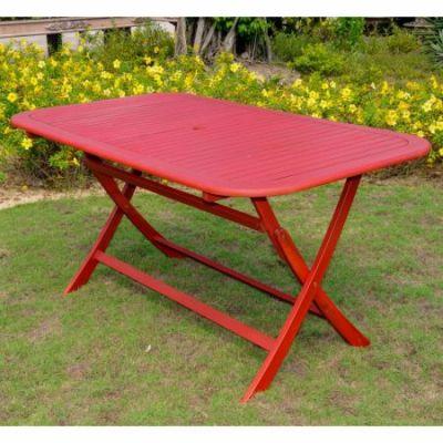 Acacia Rectangular Folding Table in Barn Red - TT-RE-054-BRD