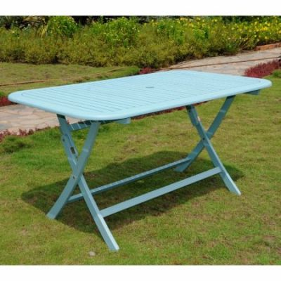Acacia Rectangular Folding Table in Sky Blue - TT-RE-054-SKB
