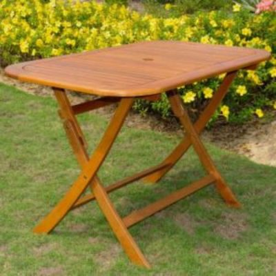 Acacia Rectangular Folding Table in Brown Stain - TT-RE-054-STN