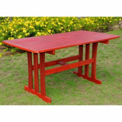 Acacia Rectangular Dining Table in Barn Red - TT-RE-07-BRD