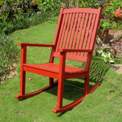 Acacia Large Rocking Chair in Barn Red - TT-RO-03-BRD