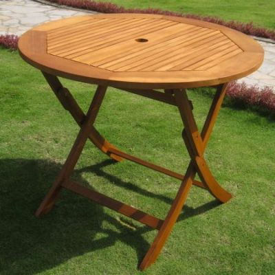 Royal Tahiti 36'' Round Wood Folding Table in Brown Stain - TT-RT-029