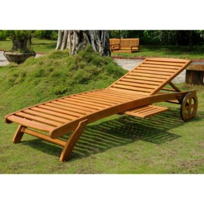 Royal Tahiti Wood Chaise Lounge with Wheels in Brown Stain - TT-SL-008-A