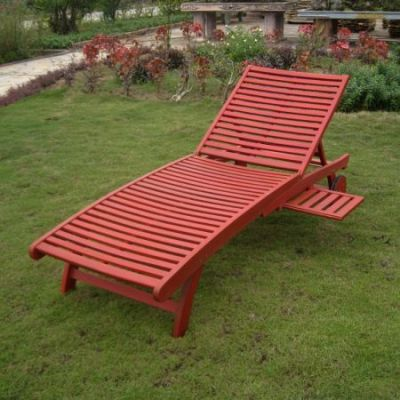 Acacia Chaise Lounge with Pull Out Tray with Barn Red - TT-SL-032-BRD