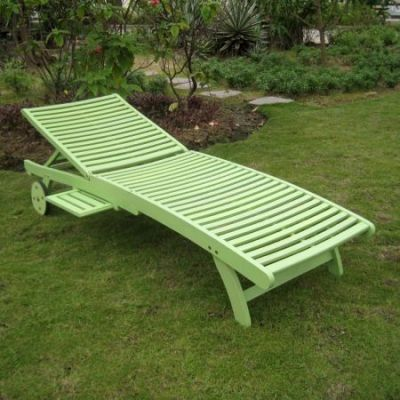 Acacia Chaise Lounge with Pull Out Tray with Mint Green - TT-SL-032-MGN
