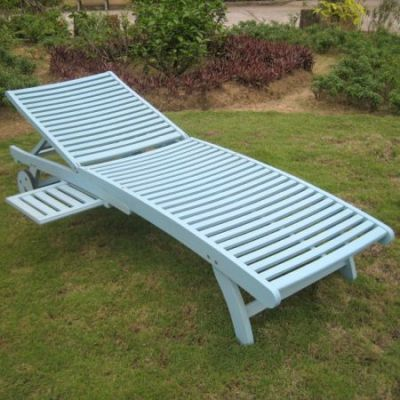 Acacia Chaise Lounge with Pull Out Tray with Sky Blue - TT-SL-032-SKB