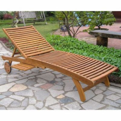 Acacia Chaise Lounge with Pull Out Tray in Rustic Brown - TT-SL-032-STN