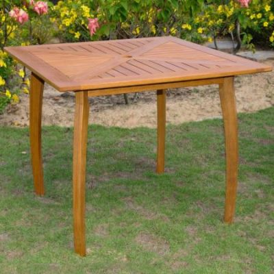 Royal Tahiti Outdoor 36'' Square Wood Table in Brown Stain - TT-ST-031