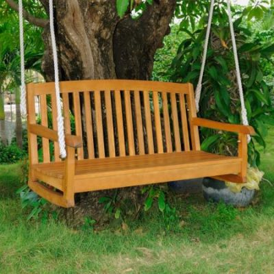 Royal Tahiti Curved Back Wood 2 Seated Swing in Brown Stain - TT-SW-006-2