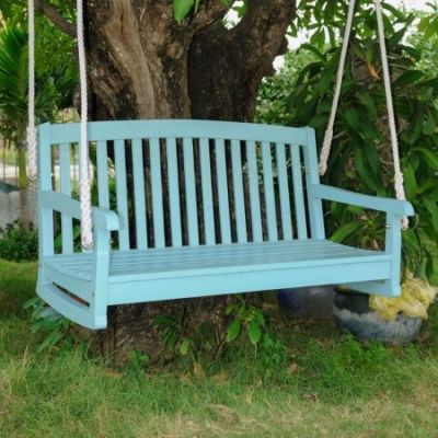 Acacia Two Seater Swing With Curved Back in Sky Blue - TT-SW-06-2-SKB