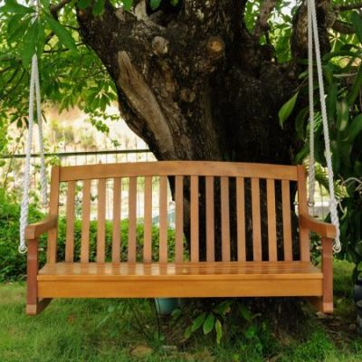 Acacia Two Seater Swing With Curved Back in Brown Stain - TT-SW-06-2-STN