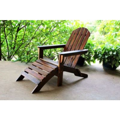 Outdoor Adirondack Chair with Footrest in Brown - VF-4105