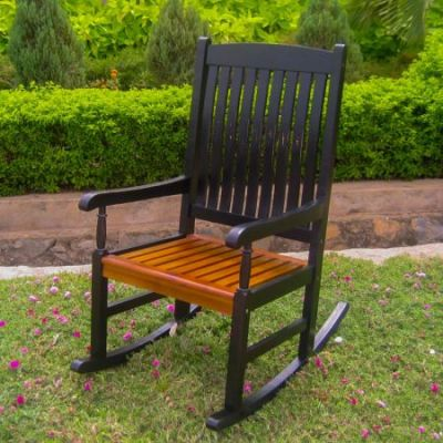 Outdoor Wood Porch Rocker in Black/Oak - VF-4108-Blk/Oak