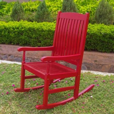 Outdoor Wood Porch Rocker in Red - VF-4108-Red