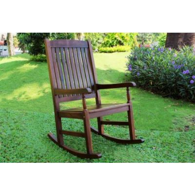 Outdoor Wood Porch Rocker in Brown - VF4108-ST