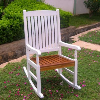 Outdoor Wood Porch Rocker in White/Oak - VF-4108-Wht/Oak