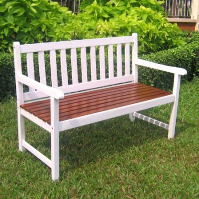 Outdoor 4 Foot Wood Bench in White/Oak - VF-4110-Wht/OK