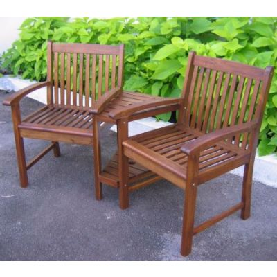Outdoor Wood Corner Double Chair in Brown - VF-4113