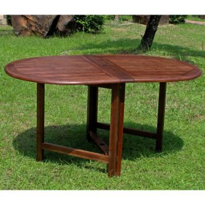 Highland Acacia Oval Gate Leg Folding Dining Table in Brown - VF-4119
