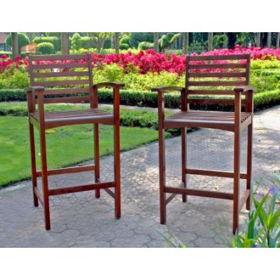 Set of 2 Highland Acacia Maine Bar Stool with Arms in Brown - VF-4150-2CH