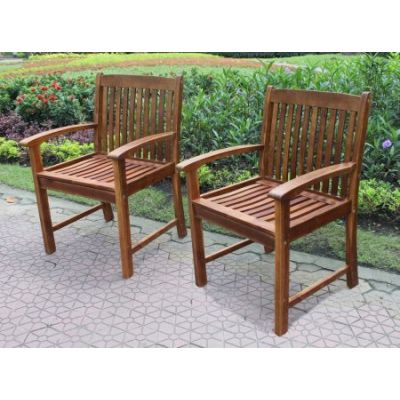 Highland Set of Two Acacia Hudson Arm Chair in Brown - VF-4209-2CH