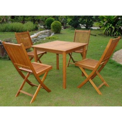 Royal Tahiti Antequera Set of Five Patio Set in Stain - VN-0128TBL-VN-0128-4CH