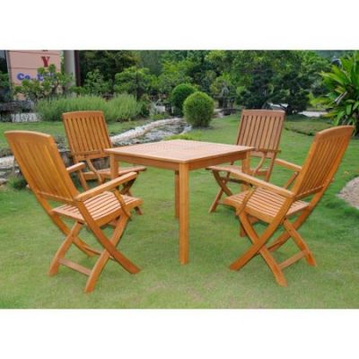 Royal Tahiti Benevente 5-Piece Dining Group in Stain - VN-0128TBL-FA-040-4CH