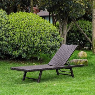 Barbados Resin Wicker Chaise Lounge in Antique Brown - YF-9035-CL-ABN